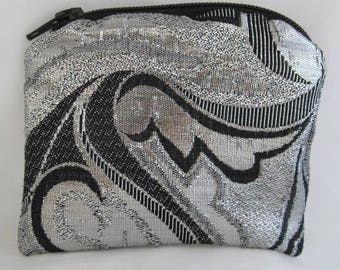 Small Black and Silver Brocade and Satin Coinpurse Coin Purse Pendulum Crystals Zipper Bag Pouch Fancy