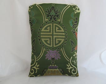Brocade Tarot Card Bag Green and Gold with Black Satin Lining and Zipper Dice Makeup Pouch Fancy