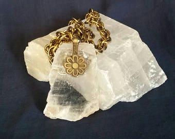 LARGE Crystal Selenite Necklace // Bohemian Tribal Pendant // White Selenite Stone Jewelry // Raw Selenite Healing Crystal // Gift for Her