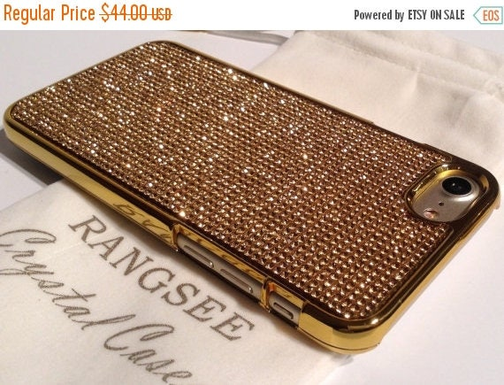 Sale iPhone 7 Case Gold Topaz Rhinstone Crystals on iPhone 7 Gold Chrome Case. Velvet/Silk Pouch Included, Genuine Rangsee Crystal Cases.