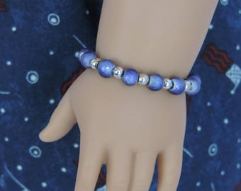 Blue and Silver Bracelet for American Girl Dolls and other 18 inch dolls, Fourth of July