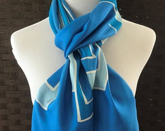 Lord & Taylor Scarf, Vintage Long Blue And White Silk Scarf, Vintage Accessories, Vintage Scarves, Women Scarves, Silk Scarves