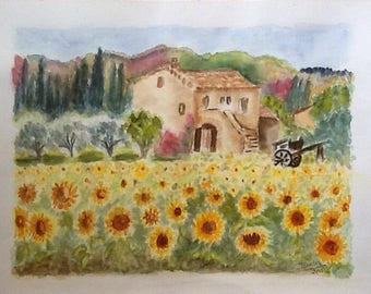 Fields of sunflowers in PROVENCE - WATERCOLOR 32 * 41 CM