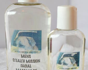 Mens Stealth Mission Facial Massage Oil with Natural Gemstones