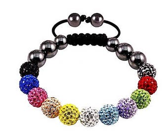 Multi Color Small Sparkly Crystals Hand Made Shamballa Bead Bracelet