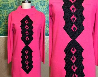 Vintage 1960s Dress - Fuchsia Hot Pink Long Sleeve Scooter Dress - M