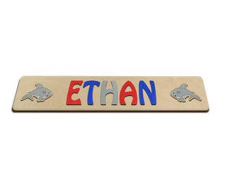 Personalized Name with Two Sharks, Puzzle Name, Personaziled Toy, Personalized Baby Name, wooden custom name puzzle Shark 543057524