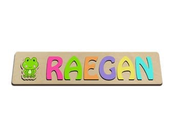 Custom Puzzles Personalized Wooden Name Puzzle With A Cute Frog In Front of the Name id257633851