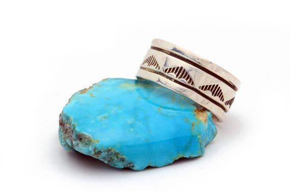 Size 9- Men's Handstamped Native Sterling Ring Boho Authentic Indian Handmade