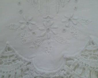 White Lace Pillowcase -  Monogrammed MTW - Romantic Bedroom - White on White - Heavily Embroidered - Antique Bedding - Shabby Chic