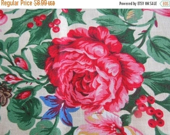 "50% SALE Cotton Fabric Cabbage Roses Floral Quilting 27"" x 45"" Textile Remnant Cranston VIP Screen Print Vintage Seamstress Decorator Projec"
