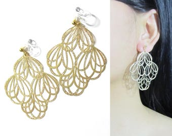 Gold Leaf Clip on earrings, Lace Filigree Dangle Clip On Earrings |32D| Big Bold Statement Clip earrings, Long Clip on Earrings, Clip-ons