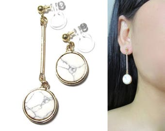 White Marble Faux Stone Dangle Clip On Earrings |33e| Geometric Circle Disc Gold Bar Non Pierced Long Clip Earrings, Unmatched Clip-ons