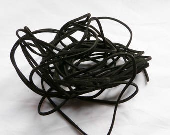 LEATHER cord/wire way suede links, flat 1.5 x 3 mm, black, sterling silver jewelry findings