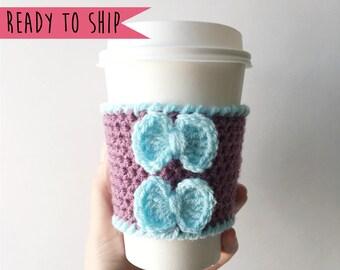 Coffee Cozy with Bows, Cup Cozy, Coffee Cozy, Cup Sleeve, Crochet Coffee Cozy, Coffee Sleeve, Rainbow Coffee Cozy, Coffe