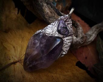 Earthborn Amethyst and Charoite Pendant / Crystal Pendant / Crystal Jewelry / Handmade / Unique / Pagan / Heathen / Amulet / Nordic