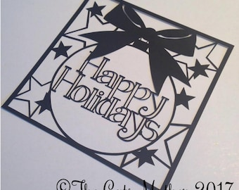 Happy Holidays Bauble Card Paper Cutting Template - Commercial Use