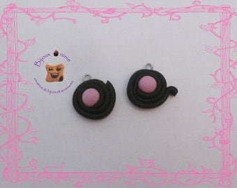 2 charms gourmet licorice candy pink rolled polymer clay
