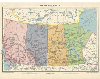 1940s  map  of western canada   antique map vitage wqll decor