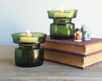 Dansk Green Glass Jens Quistgaard Candle Holders, 1970s, JHQ Danish Modern, Smokey Green Art Glass Tea Lights, Mid Century Modern Home Decor