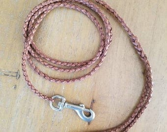 Kangaroo Leather Pocket Leash--4ft, Brown