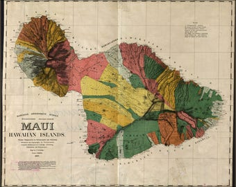 Poster, Many Sizes Available; Map Of Maui Hawaii 1885