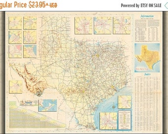 40% OFF SALE Poster, Many Sizes Available; 1956 Official Texas Highway Map Jpeg