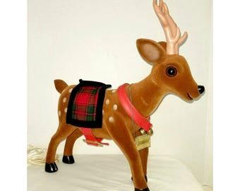 Animated Reindeer,Motionettes,Flocked Deer,LARGE,Animated Deer,Flocked Reindeer,Velvet Deer,Deer Figurine, Kitsch,Telco Reindeer,Christmas