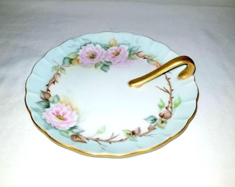 Vintage Hand Painted Tidbit Plate, Gold Gilt,Scalloped China Dish with Handle,Nippon Dish ,Vintage Hand Painted China,Floral Plate,Shabby