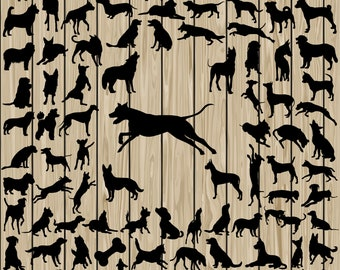 90 Dog SVG, Dog Silhouette Clipart, Dog Silhouette SVG, Dog Breed SVG, Dog Cutting File, Dog Dxf, Dog Vector, Dog Eps, Dog Png, Breed Dxf.