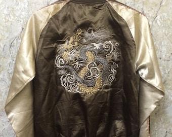 Birthday Sale Vintage Embroidered Japanese Souvenirs Sukajan Varsity Jackets, Dragon Fight Yakuza, Hip Hop, Size L Rare