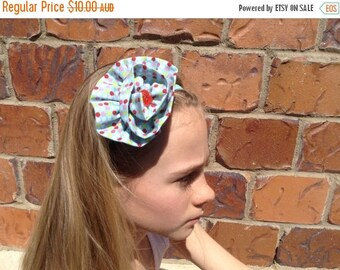 EOFY Sale Polka Dot Fabric Flower Elastic Headband