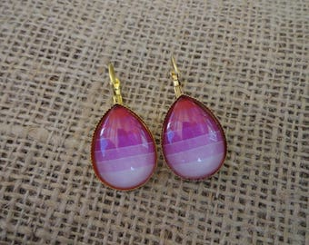 Pink Ombre Glass Photo Cabochon Earrings