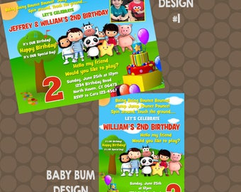 Little Baby Bum Birthday Party Invitations or Thank You Cards Printable Uprint Digital Printed Options READ DESCRIPTION