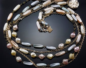 Vintage 1950s Necklace Faux Pearl Multi Strand Signed Hong Kong Estate Jewelry