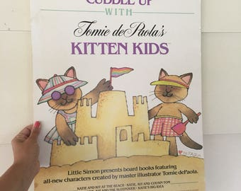 Tomie de Paola'a Kitten Kids Poster Board at the beach / 1986 library classroom vintage decor / Phillip Lief