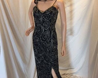 Vintage Scala Full Length 100% Silk Beaded Dress Black and Silver with Spaghetti Straps P (Petite)