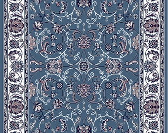Blue Bordered Modern Area Rug Square Floral Carpet - Actual Size 5'2'' x 7'4''