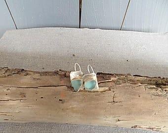 Seafoam Sea Glass silver earrings