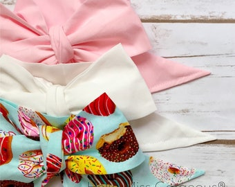 Gorgeous Wrap Trio (3 Gorgeous Wraps)- Pink, Blanc & Donut Love Gorgeous Wraps; headwraps; fabric head wraps; bows