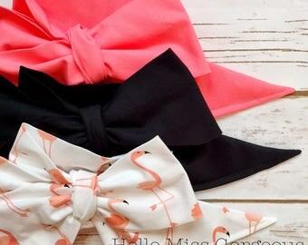 Gorgeous Wrap Trio (3 Gorgeous Wraps)- Coral, Noir & Mingo Love Gorgeous Wraps; headwraps; fabric head wraps; bows