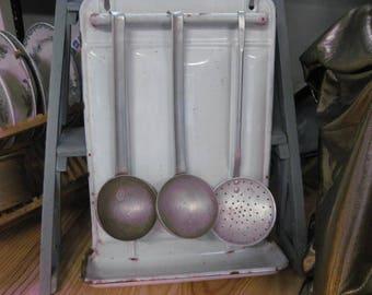 Vintage French white enamel utensils kitchen rack, drip tray.