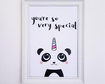 Panda Art Print | Panda Print, Panda Wall Art, Kawaii Pandicorn, Good Vibes Print, Inspirational Print, Positive Print, Motivational Print