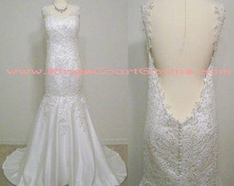 Replica Ivory Sleeveless Beaded Lace Open Back Trumpet Wedding Dress Gown