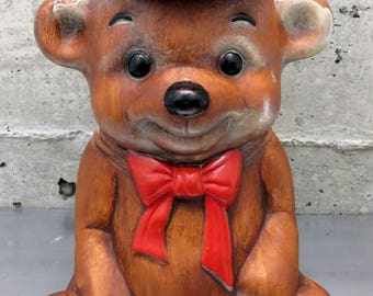 Vintage Treasure Craft Teddy Bear Cookie Jar/With Cap & Red Bow/Made in USA/Homemade Cookies/Snack Time/After School Snack/Cookie Storage