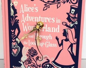 Alice in Wonderland Decor, Book Lover Gift, Quirky Gift, Pink Clock, Alice Clock, Unique Clock, Book Clock, Literary Decor, Lewis Carroll