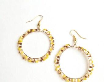 Yellow beaded earrings fashionable handmade long exclusive earrings,orange creamy unique beaded fashionable handmade long exclusive earrings