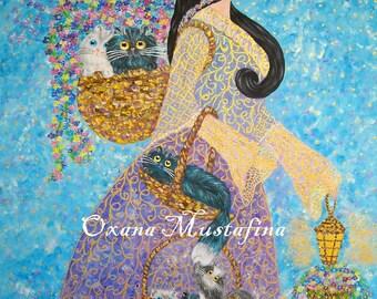 "Acrylic painting ""Princess - florist wearing cats"""