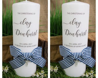 SALE Personalised Baptism candle, Personalised Christening candle, Baptism candle, blue baptism candle, boy baptism candle