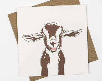 Goat Card - Cute card for friend - Birthday Card - Thank you card - Farm Animals - Card for a Farmer - Baby Goat - note card - handmade card